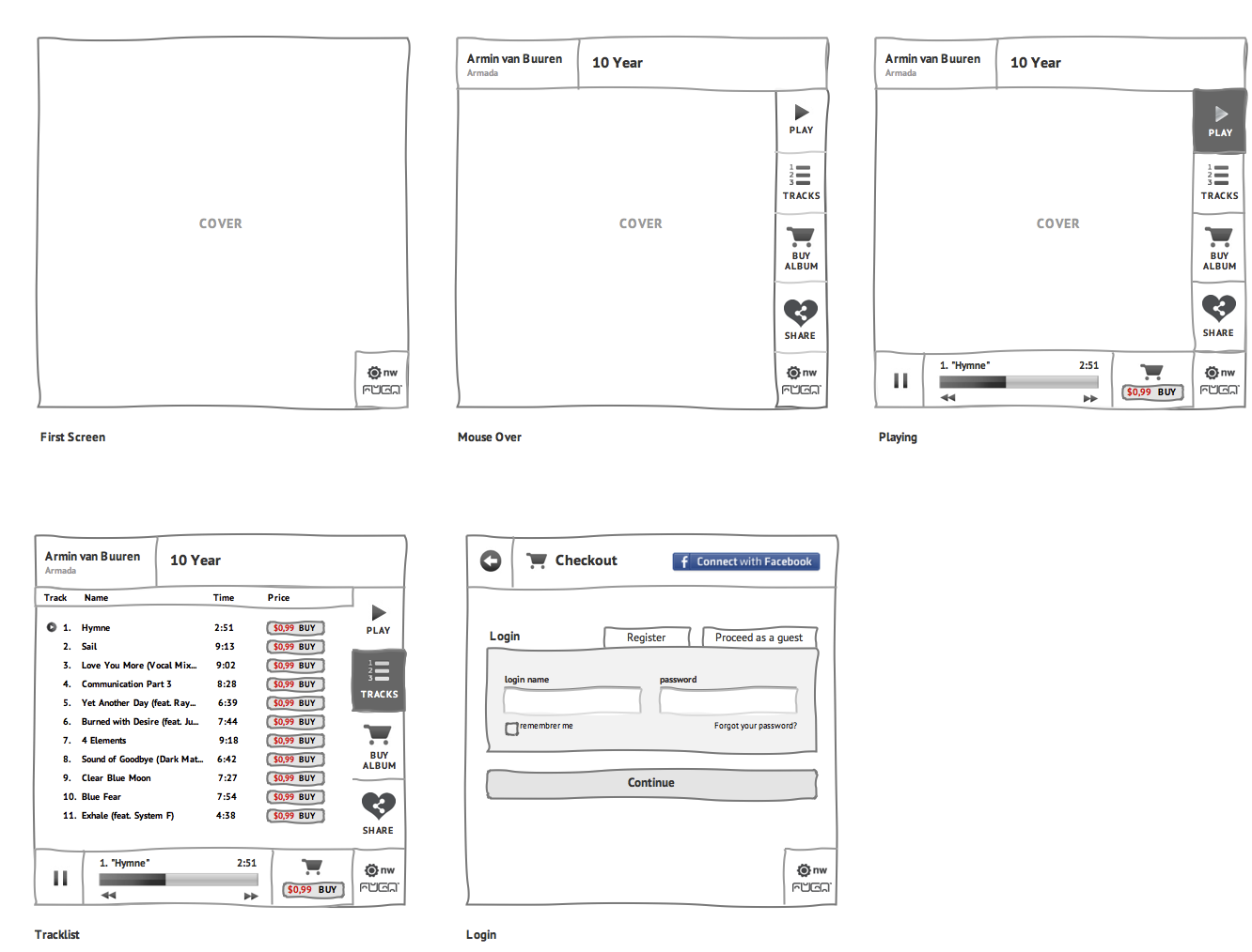Facebook APP Prototype Wireframe